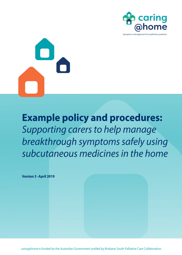 Front cover of example policy and procedure document