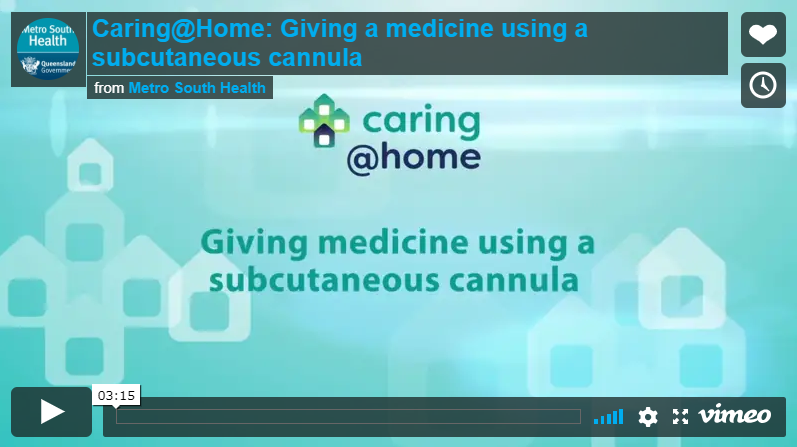 Play Video - Giving medicine using a subcutaneous cannula