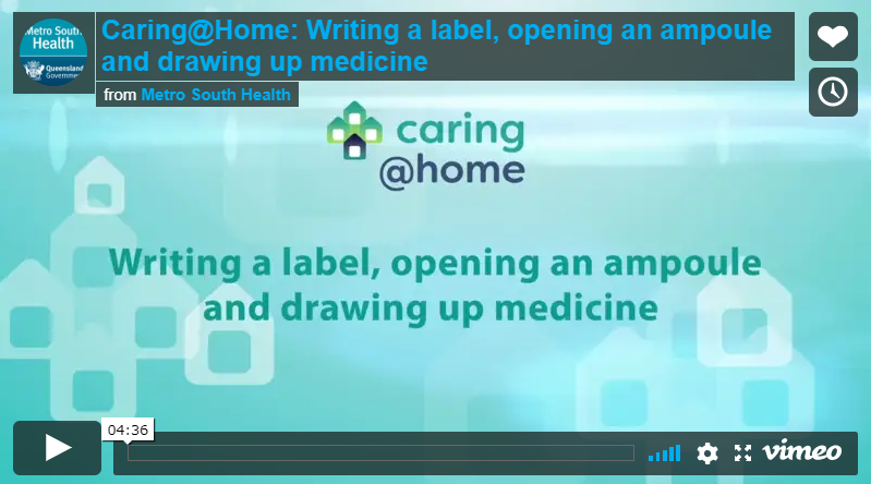 Play Video - Writing a label, opening an ampoule and drawing up medicine